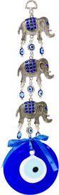 Glass Evil Eye Talisman Triple Elephant Hanging