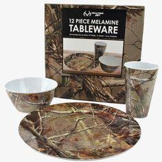 Realtree 12 Piece Melamine Tableware Set $29.99  #Realtreegear #Realtreecamo