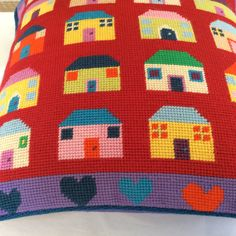 Shona's Quilt Houses and Hearts tapestry, stitched in her own wools.