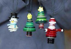 Snowman, trees, and santa button ornaments...too cute!