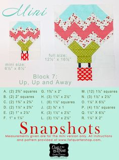 Snapshots Quilt Along Mini Quilt Block 7 │Out of the Blue Quilts - hot air balloon