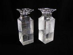 2 Val St Lambert Art Deco Look Candlesticks Candle Holders Belgium Clear Crystal | eBay