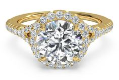 French-Set Halo Diamond 'V' Band Engagement Ring - in 18kt Yellow Gold (0.23 CTW)