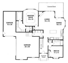 *** First Floor Plan of Traditional   House Plan 62639 1392 sq ft *combine shower & tub in master, add entrance from garage into master - love the tandem style garage