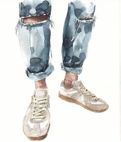 Watercolor Fashion, Watercolor Paintings, Watercolours, Art Sketches, Art Drawings, Illustration Art Dessin, Behance Illustration, Art Mignon, Arte Sketchbook