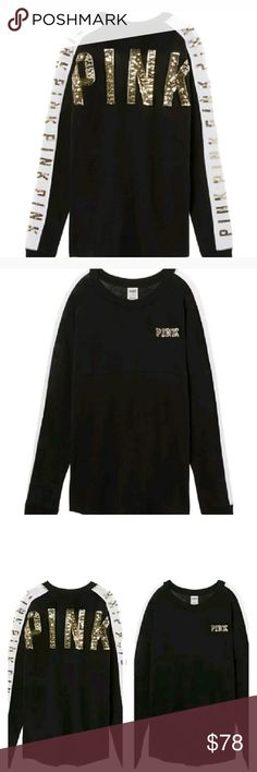 Victoria's Secret bling varsity crew Brand new Victoria's Secret bling Varsity crew and black with gold bling sold out online and in stores Victoria's Secret PINK  Tops Tees - Long Sleeve