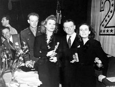 "The winners of the 1942 Academy Awards for acting: Van Heflin (""Johnny Eager""), Greer Garson (""Mrs. Miniver""), James Cagney (""Yankee Doodle Dandy"") and Teresa Wright (""Mrs. Miniver"")"