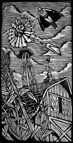 Brian Reedy Superman Woodblock Print 12 X 24 Inch Rice Paper