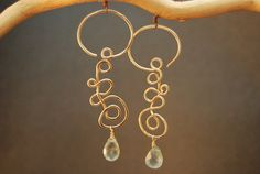 Hammered spiral earrings  with your choice of gemstone Nouveau 181
