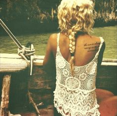 i want this shirt, this setting, her hair, and most of all her tattooo