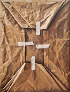 These trompe l'oeil paintings look like crumpled paper, capturing folds, creases & shadows.