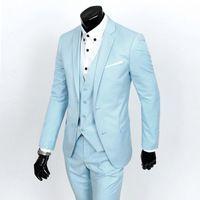 2016  Business  Fashion Wedding Dress Suit Grooms Slim Fit Two Buttons Sky Blue  Jacket Pants Vest XY05