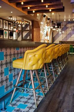 restaurant furniture Don Chido - an authentic, stylish Mexican restaurant in San Diego Mexican Restaurant Design, Café Restaurant, Luxury Restaurant, Mexican Restaurants, Mexican Bar, Yellow Restaurant, Bar Interior, Restaurant Interior Design, Modern Interior Design