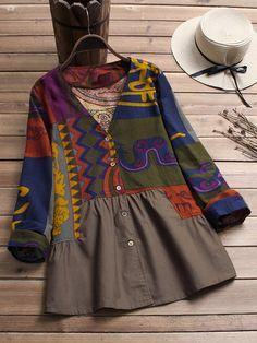 Spring Autumn Women Boho Long Sleeve Blouse Tops Vintage Floral Shirt Plus Size Tops Vintage, Blouse Vintage, Vintage Floral, Camisa Floral, Vestidos Retro, Mode Chic, V Neck Blouse, Printed Blouse, Plus Size Tops