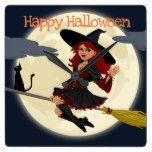 Happy Halloween Witch Wall Clock #halloween #happyhalloween #halloweenparty #halloweenmakeup #halloweencostume