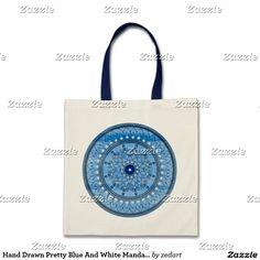 Hand Drawn Pretty Blue And White Mandala Flower
