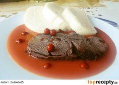 Srnčí kýta se šípkovou omáčkou Panna Cotta, Pudding, Beef, Cooking, Ethnic Recipes, Desserts, Meat, Kitchen, Tailgate Desserts
