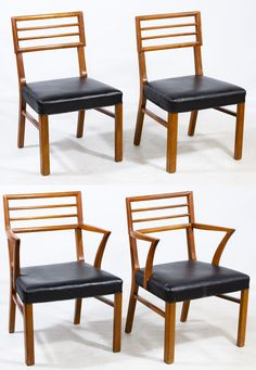 """Lot 104: Mid-Century Modern Teak and Vinyl Chairs; c.1960, including two arm chairs and two side chairs, all with black vinyl seats and horizontal ribbed backs; each have """"Upholsters' International Union"""" labels to the underside; possibly by Robsjohn-Gibbings"""