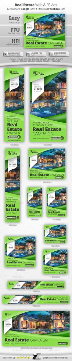 Real Estate Web & Facebook Banners Template #design #ads Download: http://graphicriver.net/item/real-estate-web-facebook-banners/12994898?ref=ksioks
