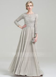 JJsHouse A-Line/Princess Scoop Neck Floor-Length Pleated Zipper Up Sleeves Long Sleeves No Silver General Plus Chiffon Lace Mother of the Bride Dress. Mob Dresses, Bridesmaid Dresses, Bride Dresses, Fashion Dresses, Vestidos Mob, Dress Skirt, Dress Up, Robes D'occasion, Bride Groom Dress