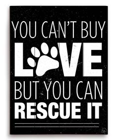 'You Can't Buy Love but you can rescue it' Wall Art