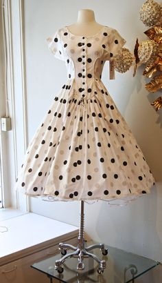 Vintage 50's Dress // 1950s Iconic Polka Dot by xtabayvintage, $248.00