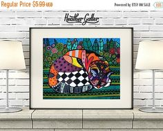 50% Off Today- DIGITAL Print File - Cat Art Poster Print of Painting by Heather Galler (HG261)