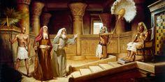 Desenho de Moisés e Arão falando com faraó