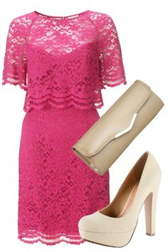 WEDDING GUEST OUTFITS  Head to more bohemian and country weddings in Whistles' vintage-inspired fuchsia lace dress dress and top off the look with some nude accessories.
