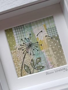 This piece of original textile art depicting a dandelion blown in the wind has been handmade by me, and gives you a truly unique piece of my work for your home or to give as a gift. To make this textile picture Ive used appliqué and a technique called free motion machine