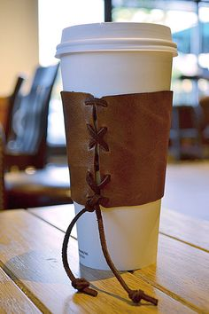 Brown Leather Coffee Cup Cozy Sleeve by PearlieMae on Etsy, $14.99