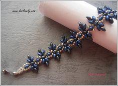 Classic Blue Grey Flower Superduo Bracelet