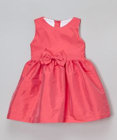 Love this Coral Taffeta Bow Dress - Infant, Toddler & Girls on #zulily! #zulilyfinds