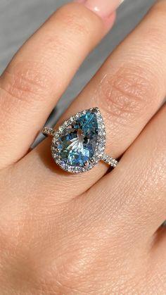 Non Diamond Engagement Rings, Pear Shaped Engagement Rings, Diamond Gemstone, Gemstone Rings, Wedding Ideas, Wedding Stuff, Wedding Rings, Prong Set, Gemstones