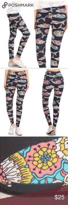"""Banded Waist Yoga Pants/Legging-Whale Yoga banded lined whale print  , full length leggings in a slim fitting style with a banded high waist. 92% Polyester 8% spandex. ⭐️PRICE FIRM ⭐️BUNDLE&SAVE ⭐️Model is wearing size small. (32x24x35&Height is 5'7"""") (170.2cm) Pants Leggings"""
