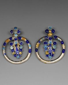 Vietnam - Lao Cai | Pair of  Yao woman's ear ornaments; silver and enamel.  ca early 20th century //  ©Quai Branly Museum. 71.1932.41.101.1-2