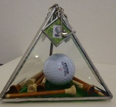 """""""Golf Addict"""" Stained Glass Pyramid Suncatcher Paperweight Charms Home Decor 