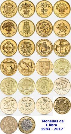 1 libra emitidas desde 1983. Rare British Coins, One Pound Coin, Valuable Coins, Coin Design, Commemorative Coins, Money In The Bank, World Coins, Libra, Coin Collecting