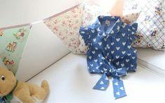 Summer girls heart print blue denim blouse Size 2-3 , 3-4 , 4-5 , 5-6 , 6-7 Years