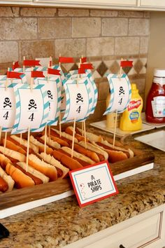 Ahoy! You won't want to walk the plank after seeing these adorable pirate birthday party ideas. Check out these hot dog pirate ships!
