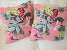 shabby chic cottage barkcloth  pillow covers  vintage 1940 pink floral