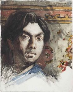 Jan Toorop - Self portrait; Creation Date: 1858; Medium: chalk and watercolour on paper