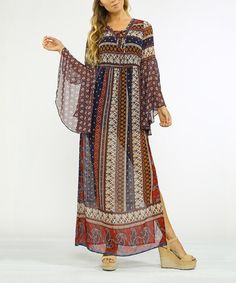 Loving this Burgundy & Blue Scarf-Print Bell-Sleeve Maxi Dress on #zulily! #zulilyfinds