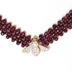 Hand Woven Shimmering Bee Diamond And Garnet Necklace