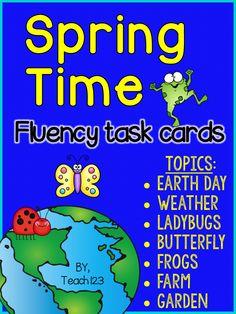 Fluency Task Cards: Spring Time #Teach123 #TPT $Paid