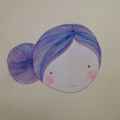 Blue bun Lady with fab hair and beauty blushes original Illustrations