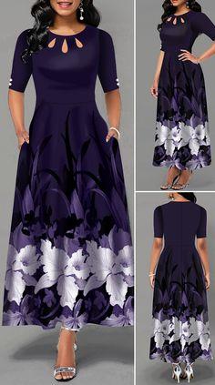 Half Sleeve Flower Print Button Detail Maxi Dress - New Site Long African Dresses, Latest African Fashion Dresses, Women's Fashion Dresses, Dress Outfits, African Print Fashion, Fashion Fashion, Classy Fashion, Fashion Fabric, Work Fashion
