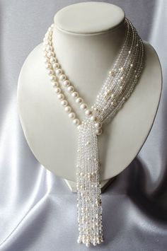 "Necklace-tie of pearl with rock crystal ""Waterfall"" Perlen Quaste Halskette mit Bergkristall Wasserfall Pearl Jewelry, Beaded Jewelry, Jewelery, Handmade Jewelry, Beaded Necklace, Necklaces, Crystal Necklace, Bracelets, Collar Necklace"