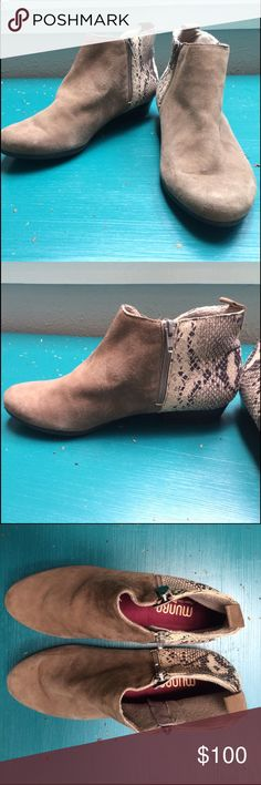 Nordstrom Tan Double Zip Booties -Suede & Python Munro Lexi II bootie with distressed leather (kid suede) and snake-inspired heel. There are dual side zippers and a 1in heel. Only been worn around my house once so in great condition. My sister purchased for me and they don't fit…