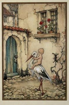 . Anton Pieck, Dutch Painters, Dutch Artists, Gravure, Vintage Cards, Illustrators, Fairy Tales, Illustration Art, Artsy